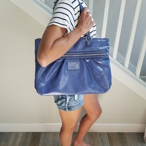 COACH POPPY Liquid Gloss Periwinkle Leather Tote